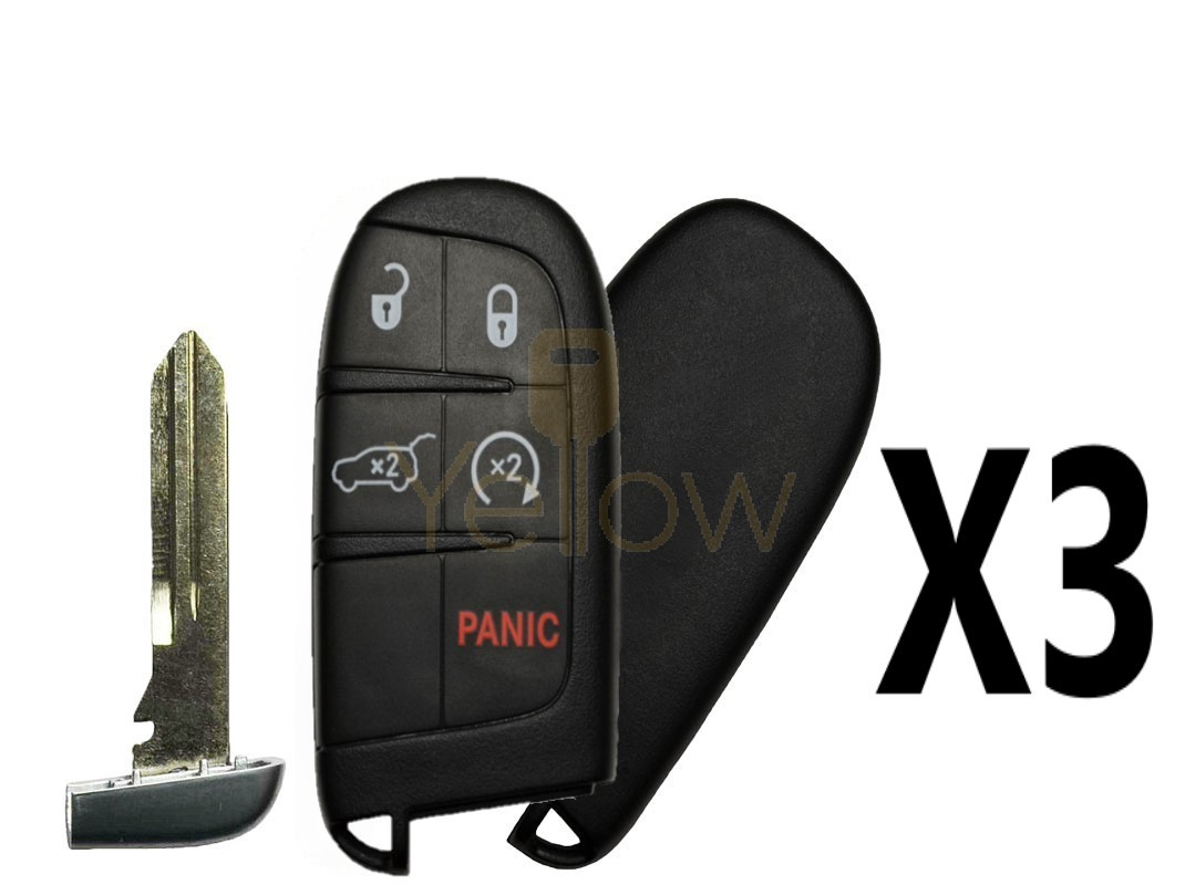 (3 PACK) REPLACEMENT 2014-2020 JEEP GRAND CHEROKEE 5B SMART KEY HATCH / REMOTE START - PN 68143505AC