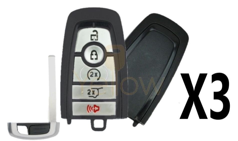(3 PACK) REPLACEMENT 2018- 2021 FORD SMART KEY 5 BUTTON REMOTE START / HATCH - 164-R8198
