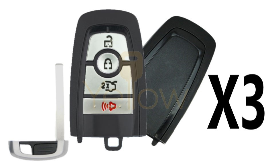 (3 PACK) REPLACEMENT 2017-2021 FORD 1-WAY PEPS SMART KEY 4 BUTTON TRUNK PN 164-R8150
