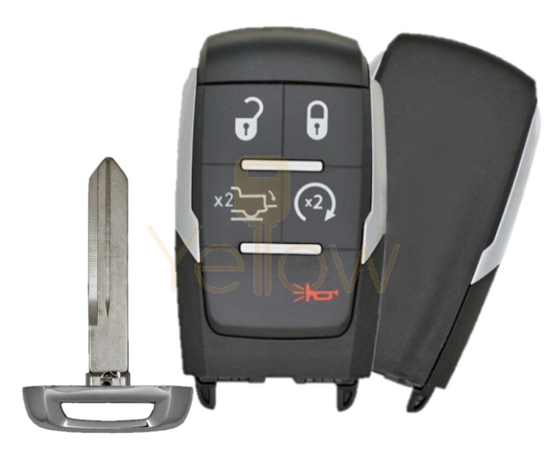 REPLACEMENT 2019-2020 DODGE RAM 5 BUTTON SMART KEY - POWER TAILGATE, REMOTE START PN 68291687AD