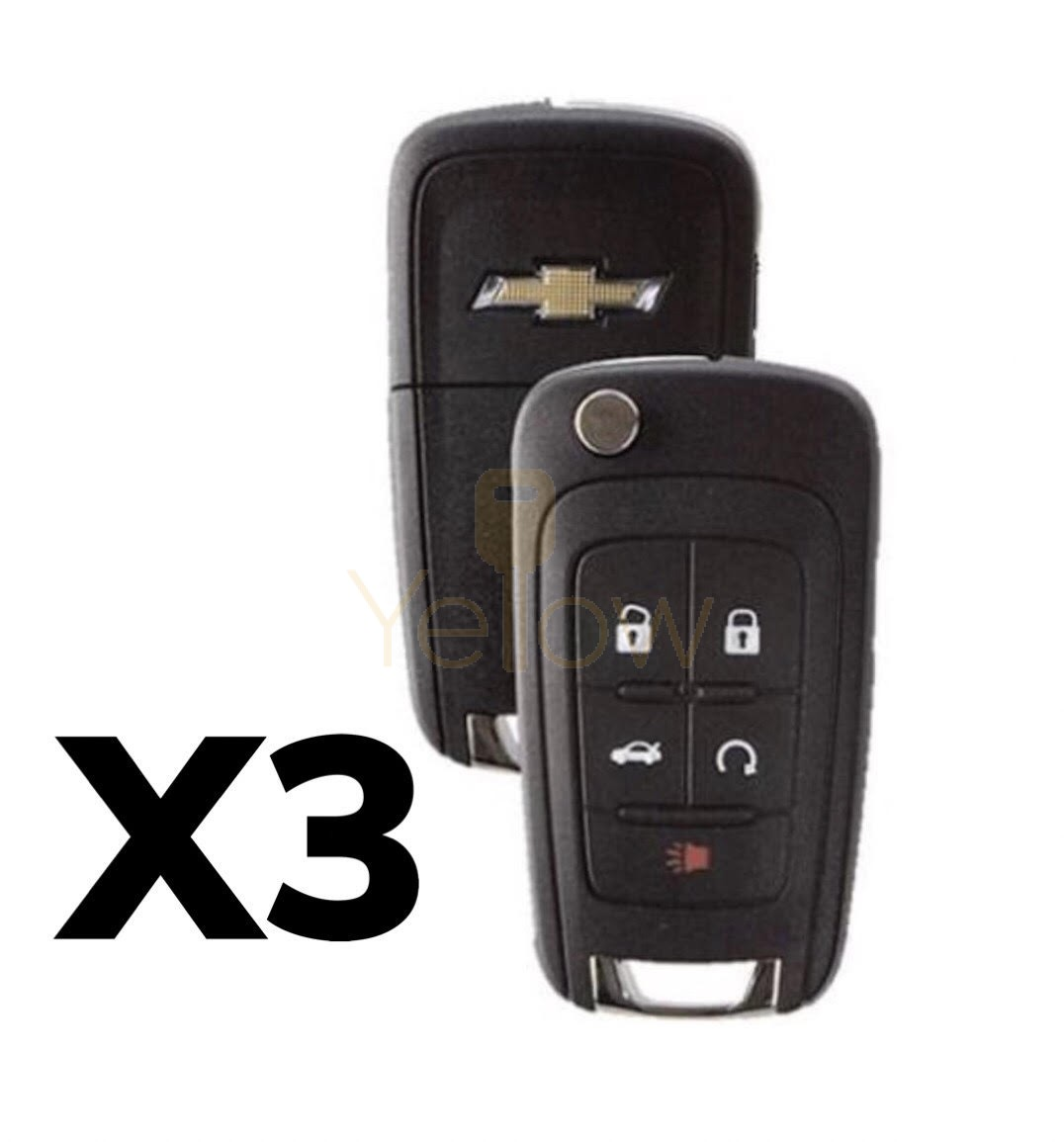 (3 PACK) 5 BUTTON CHEVROLET FLIP KEY - PN 13504199