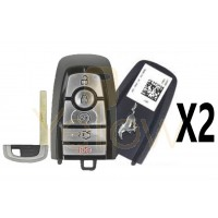 (2 PACK) 2018-2020 FORD MUSTANG SMART KEY 5 BUTTON REMOTE START / TRUNK - JR3T-15K601-BB