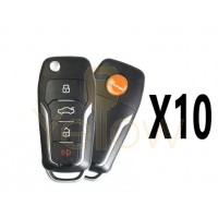 (10 PACK) XHORSE VVDI SUPER REMOTE / FORD STYLE / 4 BUTTON UNIVERSAL KEY WITH SUPER CHIP
