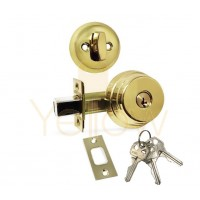 "ADIR - DEADBOLT DOOR LOCK WITH 2-3/8"" LATCH - 3 KW1 KEYS (BRASS US3)"