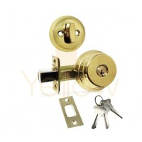 "ADIR - DEADBOLT DOOR LOCK WITH 2-3/8"" LATCH - 3 SC1 KEYS (BRASS US3)"