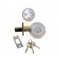 "ADIR - DEADBOLT DOOR LOCK WITH 2-3/8"" LATCH - 3 KW1 KEYS (CHROME US26D)"