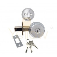 "ADIR - DEADBOLT DOOR LOCK WITH 2-3/8"" LATCH - 3 SC1 KEYS (CHROME US26D)"