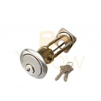 "ADIR - RIM CYLINDER - HEAVY DUTY SOLID BRASS 1-1/8"" - 2 SC1 KEYS (SILVER FINISH US32D)"