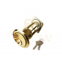 "ADIR - RIM CYLINDER - HEAVY DUTY SOLID BRASS 1-1/8"" - 2 SC1 KEYS (BRASS FINISH US3)"