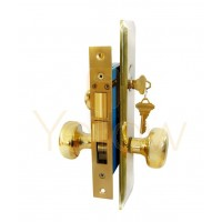 "ADIR - MORTISE KEYED DOOR LOCK SET - 2-1/2"" BACKSET - LEFT HAND - 2 SC1 KEYS (BRASS FINISH US3)"
