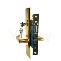 "ADIR - LEVER MORTISE KEYED LOCK SET - 2 1/2 "" BACKSET - LEFT HAND - 2 SC1 KEYS (BRASS FINISH US3)"