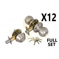 (12 PIECES) ADIR - ENTRY DOOR KNOB COMBO LOCK SET WITH DEADBOLT AND 6 KW1 KEYS (STAINLESS STEEL US32D) (KEYED ALIKE)