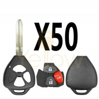 (50 PACK) E-SHELL EXTRA STRENGTH 3 BUTTON REMOTE KEY SHELL FOR TOYOTA