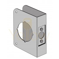 """ENTRY ARMOR - 2 1/8"""" BORE - 4 1/4"""" X 4 1/2"""" X 1 3/4"""" WRAP PLATE (STAINLESS STEEL)"""
