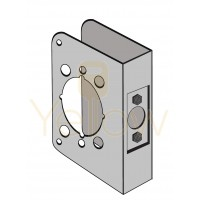 """ENTRY ARMOR - ADA 2 1/8"""" BORE - 4 3/4"""" X 4 1/2"""" X 1 3/4"""" WRAP PLATE (STAINLESS STEEL)"""