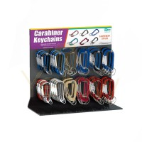 LUCKY LINE CARABINER C-CLIP KEYCHAIN CENTER ALUMINUM DISPLAY - 126 PC - ASSORTED - 46200