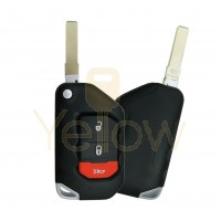 2018-2021 JEEP GLADIATOR / WRANGLER 3 BUTTON REMOTE FLIP KEY - PN 68416782AB  TRANSMITTER IS OEM / THE SHELL IS AFTERMARKET