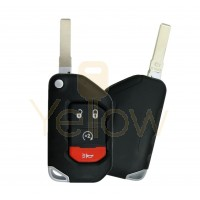 2018-2021 JEEP GLADIATOR / WRANGLER 4 BUTTON REMOTE FLIP KEY - PN 68416784AA  TRANSMITTER IS OEM / THE SHELL IS AFTERMARKET