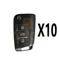 (10 PACK) XHORSE VVDI SUPER REMOTE - MQB STYLE - 3 BUTTON UNIVERSAL REMOTE FLIP KEY W/ SUPER CHIP (COMPATIBLE WITE MQB PROX)