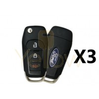 (3 PACK) 2015-2018 FORD F-SERIES EXPLORER 3 BUTTON REMOTE FLIP KEY PN 164-R8130
