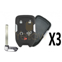 (3 PACK) REPLACEMENT 2019-2021 CHEVROLET / GMC 5 BUTTON SMART KEY - TAILGATE , REMOTE START - PN 13508398