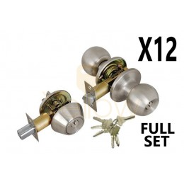 (12 PIECES) ADIR - ENTRY DOOR KNOB COMBO LOCK SET WITH DEADBOLT AND 6 SC1 KEYS (STAINLESS STEEL US32D) (KEYED ALIKE)