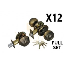 (12 PIECES) ADIR - ENTRY DOOR KNOB COMBO LOCK SET WITH DEADBOLT AND 6 KW1 KEYS (ANTIQUE BRASS FINISH US5) (KEYED ALIKE)