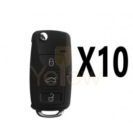 (10 PACK) XHORSE VOLKSWAGEN STYLE - 3B UNIVERSAL REMOTE FLIP KEY FOR VVDI KEY TOOL (WIRED)
